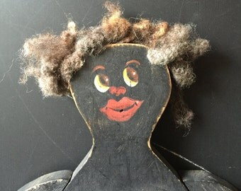Wooden handmade black doll Americana folk art painted face woolly hair vintage painted socks and shoes movable arms and legs collector item