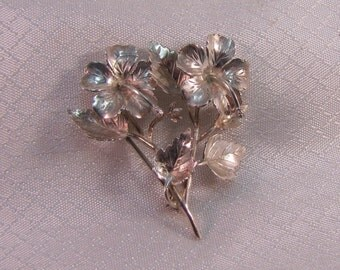 Vintage Sterling Hybiscus Flower Brooch