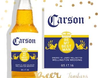 Groomsman Beer Labels Best Man Beer Label Corona Beer Label PRINTABLE