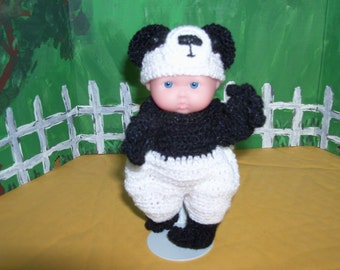 5 inch Berenguer Doll in Crocheted Panda Bear Outfit
