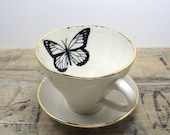 Monarch Butterfly White and Gold Porcelain Tea Cup & Saucer or Mug-Wedding Gift, Gift for Mom, Hostess Gift