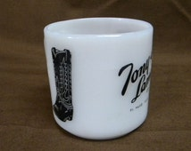 Tony Lama Boot Company advertising mug Federal Glass 1950s