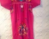 1970s Mexican Frida hot pink ,hand embrpidered ,cotton  summer boho hippie festival dress .