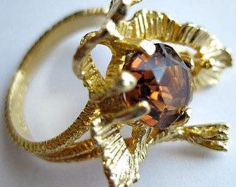 Vintage Gold Plated Faux Amber Modernist Ring