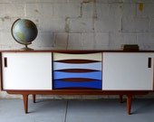 Mid Century Modern styled shades of BLUE CREDENZA media stand