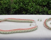 Bridesmaid Jewelry Multi-strand Mint Green and Coral Pearl Wedding Jewelry