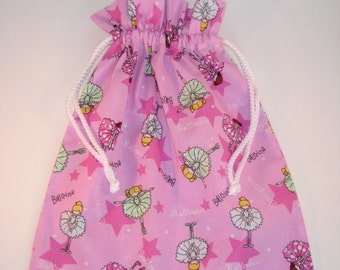 Drawstring Ballet Bag - Pink, Cotton Fabric Storage Bag, Ballet Kit Bag