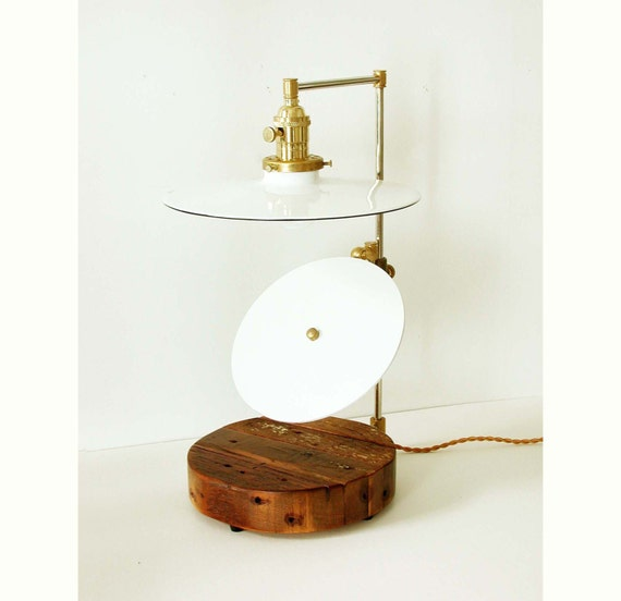 industrial table lamp reclaimed wood white mid century lamp. Black Bedroom Furniture Sets. Home Design Ideas