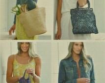 Womens Knitting Pattern K4337 4 Styles of Shopping Bags Crochet Pattern in Raffia King Cole