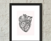 Anatomical Heart Poster Print Steampunk Heart Gears Illustration Hand Drawn Giclee Art Home Dorm Room Office Decor Gift