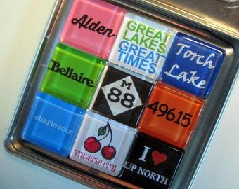 TORCH LAKE, Charlevoix, Alden, Bellaire, Up North, Michigan Magnets Set, Northwest Michigan Souvenir