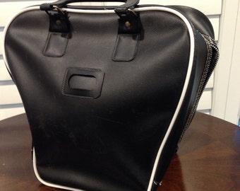 Black with white trim Bowling Ball Bag vintage sport bag