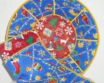 Christmas Reversible Fabric Bowl - Christmas Ornaments Medium Reversible Fabric Bread Bowl w/ napkin