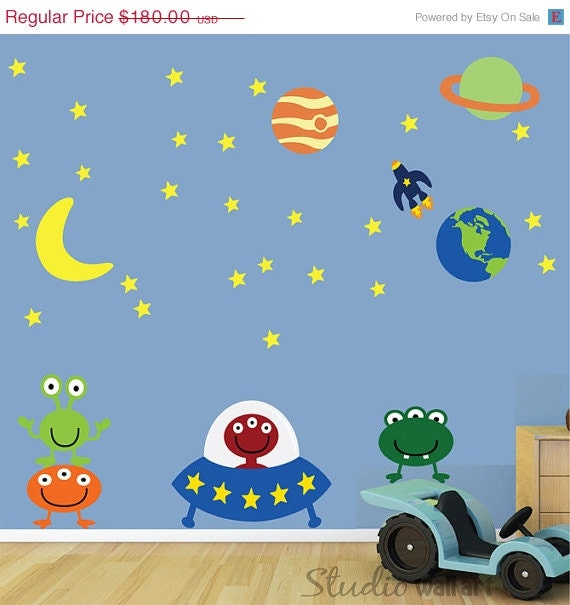 20% OFF SALE Reusable Alien Wall Decal  - HUGE-  Childrens Space Wall Decal - Sk305Swa