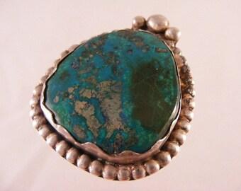 Vintage Signed Native American Chrysocola Sterling Silver Pendant.....  Lot 4193