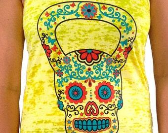 SoRock Women's Kettlebell Skull Hand Dyed Yellow Burnout Tank