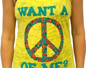 SoRock Shop's Want A Peace Of Me Women's Burnout Tank