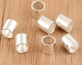 10pcs sterling silver tube beads, small tube beads, small tube, bright silver tube beads, tiny tube beads