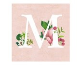 The letter M - Floral print - Letter print - Letters Monogram - M is for...Wall Decor