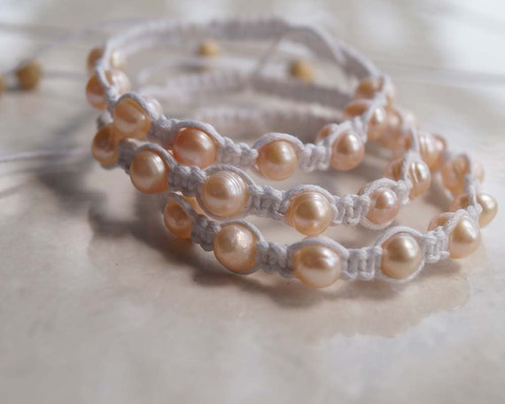 Pearl Romance, Pearl Shamballa Bracelet, Pearl Wedding Bracelet, Pearl Anklet, Pearl Friendship Band