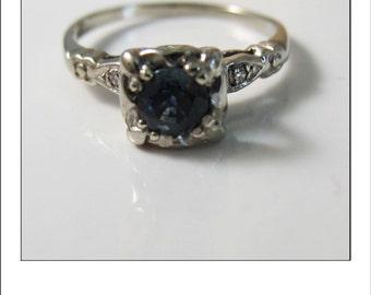 Antique Deco 14k Sapphire  Diamond Engagement Ring