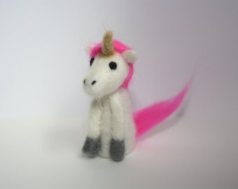 miniature unicorn needle felted sculpture