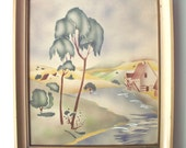 Vintage Airbrushed Landscape Painting, Mid Century Modern