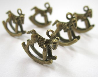 10 antiqued bronze 3D rocking horse charms - 15x15mm