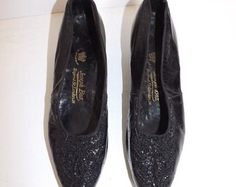 Antique Victorian mid 1800s beaded black leather shoes Royal shoemakers to Queen Victoria Made by Joseph Box top London shoemaker very rare