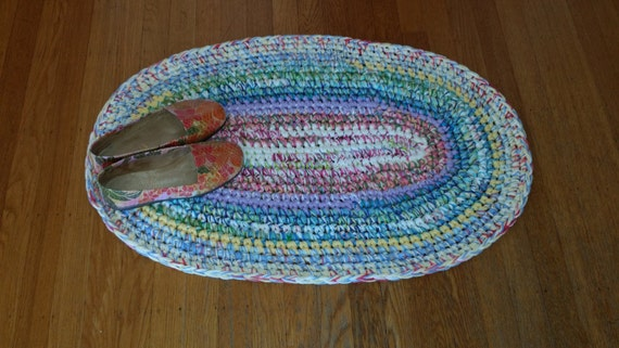 Wenig Oval verrückt Rug Crochet Rug häkeln Teppiche