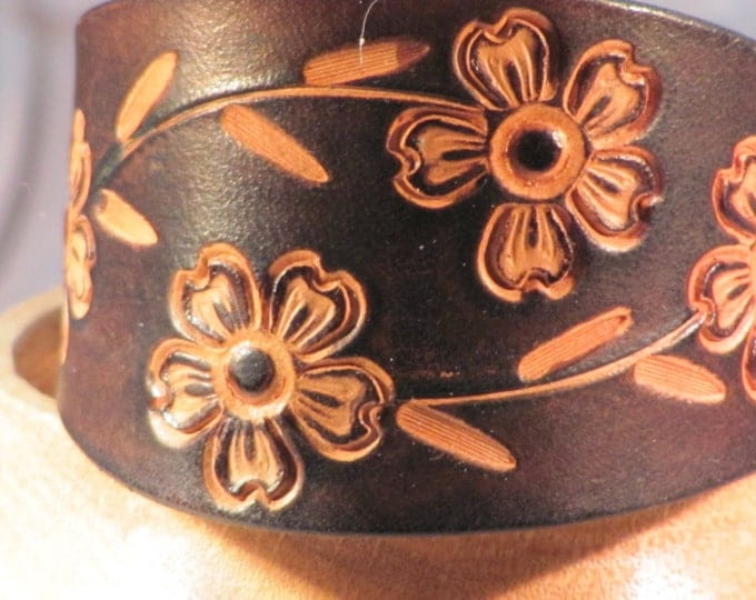 Leather wrist cuff. dark brown leather cuff, stamped leather bracelet