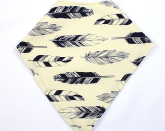 Navy& Ivory Feather Bandana Bib, Baby Drool Bib, Baby Scarf, Bibdana