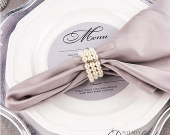 10pcs Pearl Napkin Ring Rhinestone And Stretch Loop Wedding Rings Bulk