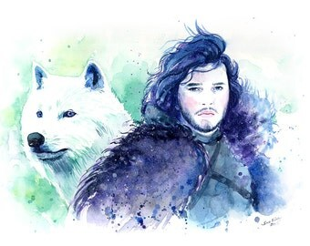 Game of Thrones Jon Snow and Wolf Ghost - Watercolor Art Print - Kit Harington
