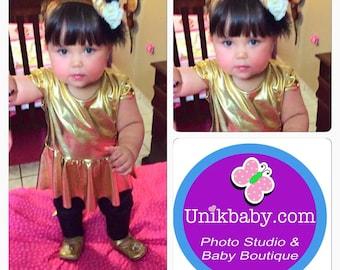 Baby Girl, Toddler Gold & Black Legging Set 12m-6Years
