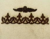 Cast Iron Wall Decor Scroll Design Decorative Fleur De Lis / Angel Wings