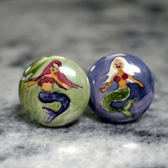 Items similar to hand painted mermaid ceramic cabinet for Painted ceramic cabinet knobs