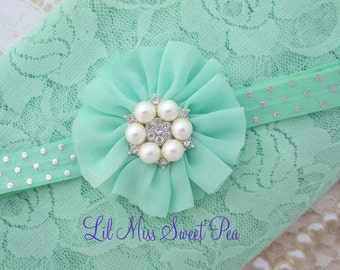 Mint stretch lace swaddle wrap and/or matching mint flower headband for newborn photo shoots, stretch lace by Lil Miss Sweet Pea