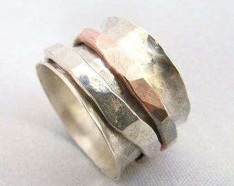 Sterling Silver Spinner Band with Copper Ring
