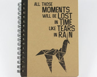 """Small Spiral Notebook """"All Those Moments Will Be Lost In Time Like Tears In Rain"""", inspired by Blade Runner"""