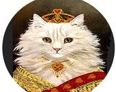 1 1/2 Fabric Cat Button - The Princess White Royal Kitten Finery Dressed For her Wedding