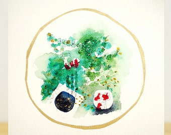 Gold terrarium, 11X14 - original painting
