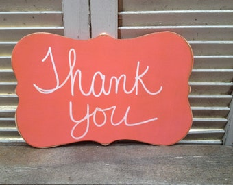 Distressed Coral and White Thank You Wedding Photo Prop, Wooden Coral Wedding Signage, Thank You Sign