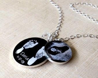 Baby Footprint Necklace - Mother's Necklace - Baby Footprints - Custom Photo - Custom Ultrasound Necklace - Mother's Day - Infant Loss