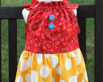 SAMPLE SALE Back to School ABC peasant dress size 6/7 ready to ship