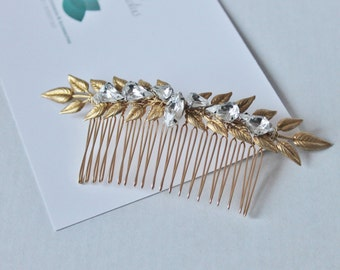 Bohemian Crystal & Gold Tone Brass leaf  branch hair comb