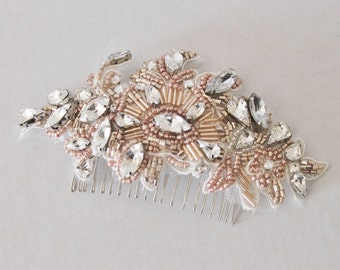 Blush Pink and Rose Gold Beaded Bridal Hair Comb
