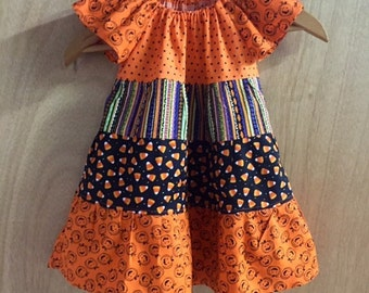 Pumpkin and CandyCorn Halloween Peasant Dress, size 12 months