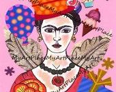 Frida Kahlo Art, Frida Postcards, Frida Art Prints, Frida Collage, Frida Portraits, Mexican Art, Frida's Birthday, Folk Art, Latin Art