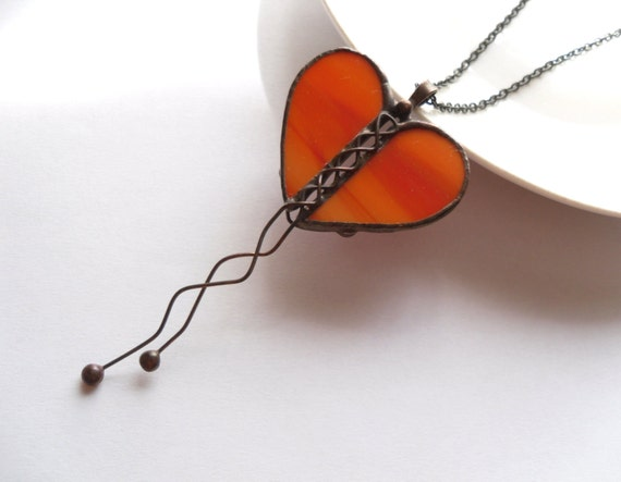 Valentines gift, heart necklace, stained glass necklace, copper wire, orange red statement, fashion jewelry, bohemian necklace, Love